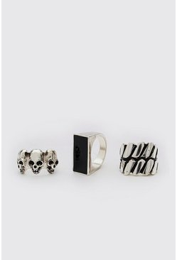 Silver 3 Pack Ring Set