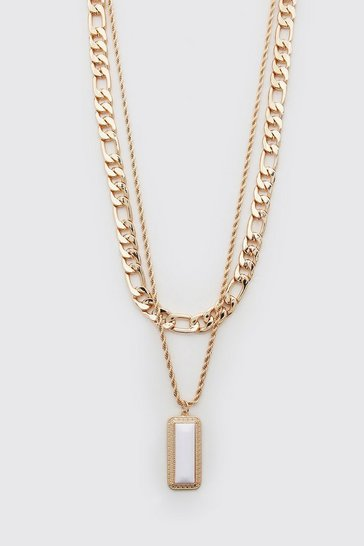 Gold metallic Double Layer Pendant Necklace
