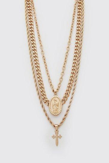 Gold metallic Multi Layer Cross Pendant Necklace