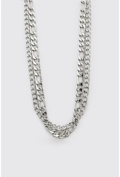 Silver Double Layer Chain Necklace