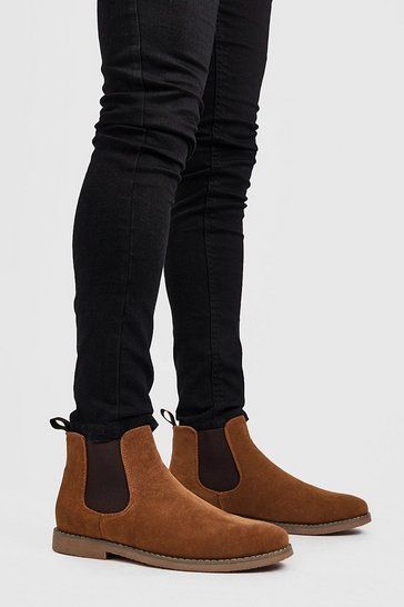 Tan brown Faux Suede Chelsea Boots