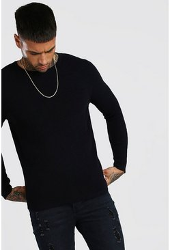 Black Knitted Ribbed Long Sleeve Jumper
