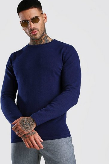 Navy Basic Knitted Crew Neck Jumper