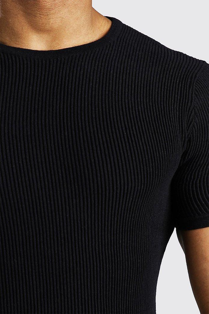 Ribbstickad t shirt med kort ärm | boohoo SE