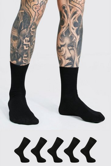 Black 5 Pack Suit Socks