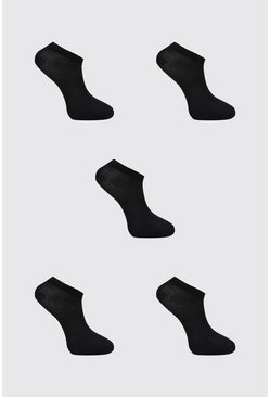Black 5 Pack Plain Sneakers Socks