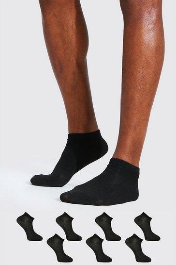 Black 7 Pack Plain Trainer Socks