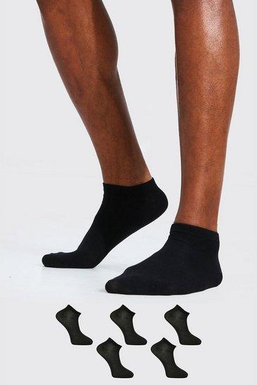Black 5 Pack Plain Trainer Socks