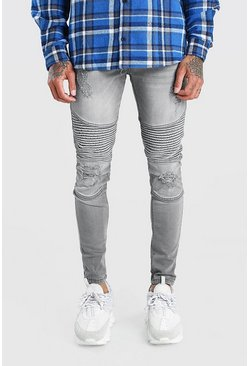 Light grey grey Spray On Skinny Biker Jeans With Zips