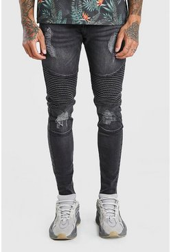 Dark grey grey Spray On Skinny Biker Jeans With Zips