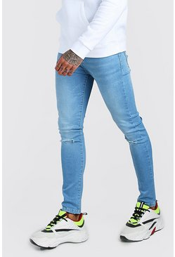 Light blue blue Super Skinny Washed Ripped Knee Denim Jean