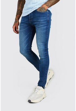 Mid blue blue Super Skinny Washed Denim Jean