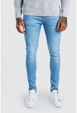 Super Skinny Washed Denim Jean, Light blue azzurro
