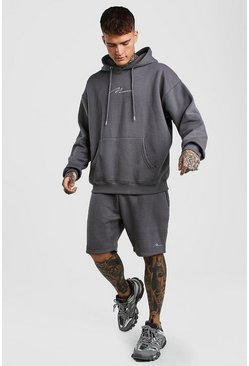 Slate grey MAN Signature Oversized Hoodie And Short Set