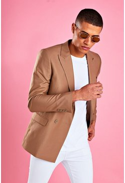 Taupe beige Boxy Double Breasted Blazer