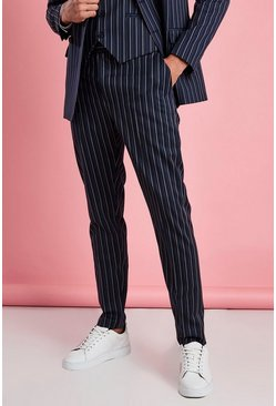 Navy Skinny Fit Smart Stripe Trouser