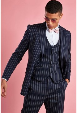 Navy Skinny Fit Double Breasted Stripe Blazer