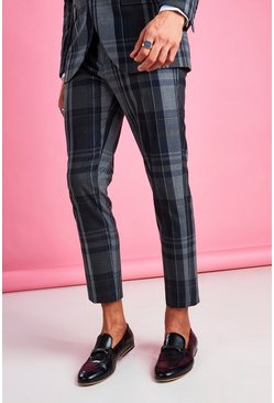 Skinny Fit Smart Check Trouser, Navy blu oltremare