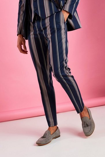 Navy Skinny Fit Smart Striped Trouser