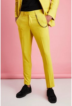 Super Skinny Fit Smart Trouser With Chain, Yellow giallo
