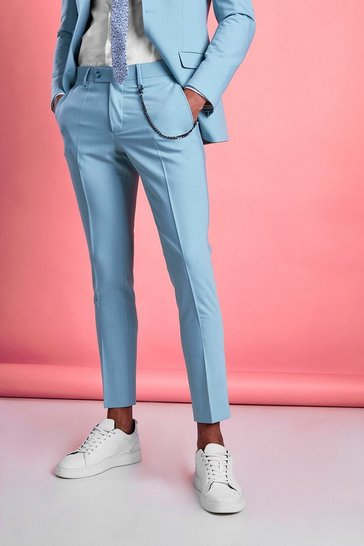 Blue Super Skinny Fit Smart Trouser With Chain