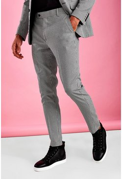 Black Super Skinny Smart Gingham Check Trouser