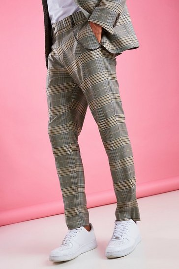Yellow Skinny Smart Check Trouser With Chain