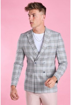 Grey Skinny Fit Double Breasted Blazer