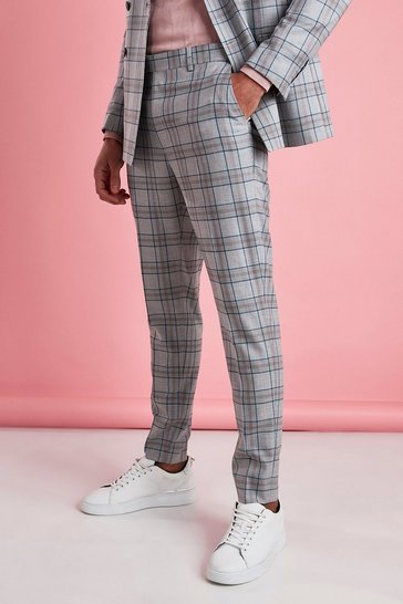 Grey Skinny Fit Smart Check Trouser