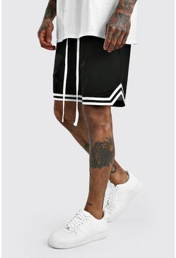 Mesh Basketball Shorts With Tape, Black nero