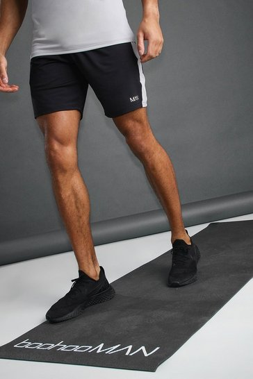 Black MAN Poly Mid Length Shorts With Side Stripe