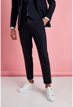 Marineblauw navy Skinny smokingbroek