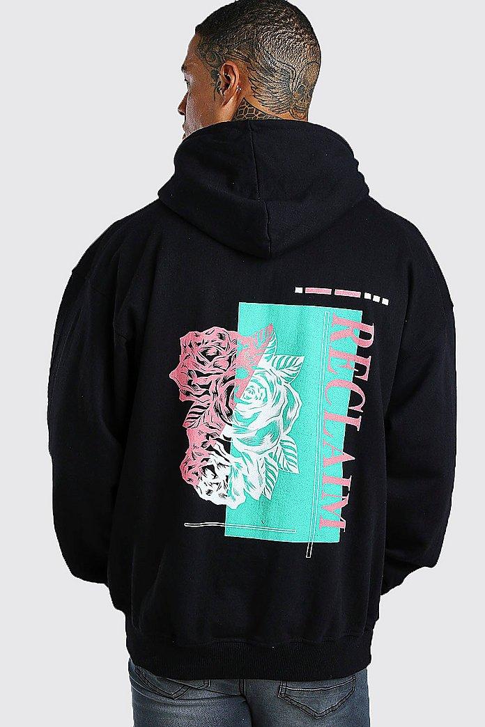 Oversized Hoodie mit Rosen Print am Rücken | boohoo
