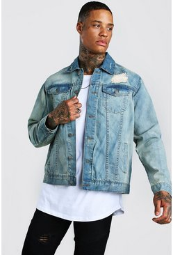Vintage blue blue Distressed Denim Jacket