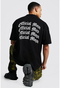 Black Tall Man Oversized Back Print T-shirt