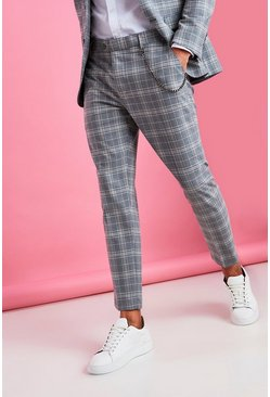 Grey Skinny Smart Check Crop Trouser With Chain