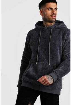 Charcoal grey Two Tone Borg Over The Head Hoodie