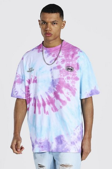 Multi Tall Oversized Extended Neck Tie Dye T-shirt