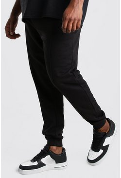Black Plus Size Jersey Pintuck Jogger