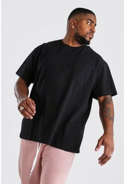 Black Plus Size Loose Fit Pocket T-Shirt