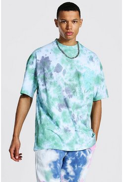 Green Tall Oversized Extended Neck Tie Dye T-shirt