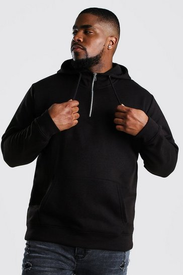 Black Plus Size Loose Fit Zip Neck Hoodie