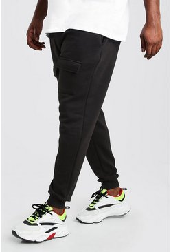 Black Plus Size Front Pocket Panelled Cargo Jogger
