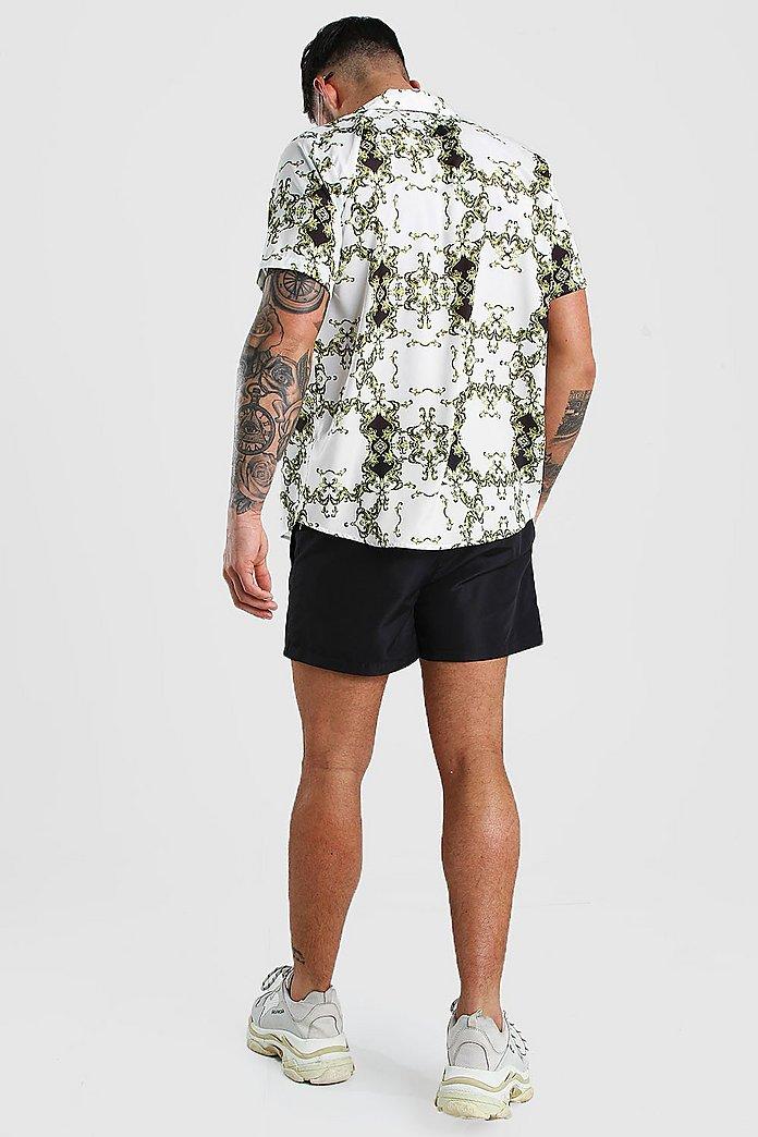 Short Sleeve Collar High Low Shirt Short Set Boohoo