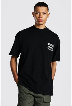 Black Tall Oversized Extended Neck T-shirt
