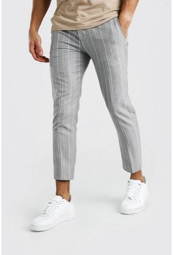 Skinny Grey Stripe Smart Cropped Pants