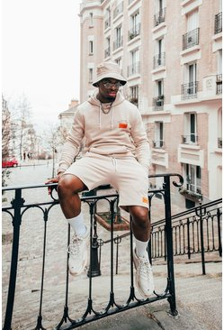 Beige Hoodie Shorts Tracksuit With Back Print And Bandana