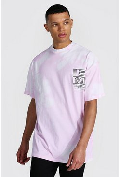 Lilac purple Tall Oversized Extended Neck Tie Dye T-shirt