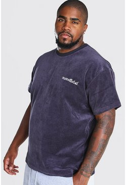 Slate Plus Size Loose Fit T-Shirt in Towelling