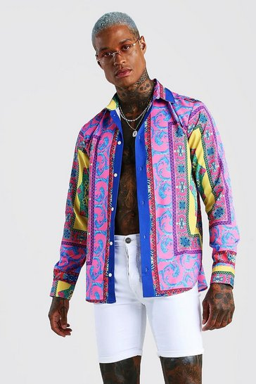 Multi Long Sleeve Bright Baroque Print Shirt